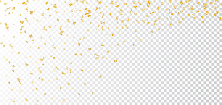 Gold bright confetti on white transparent Christmas background. Golden decoration glitter abstract design of Happy New Year card, greeting, Xmas holiday celebrate banner. Vector illustration