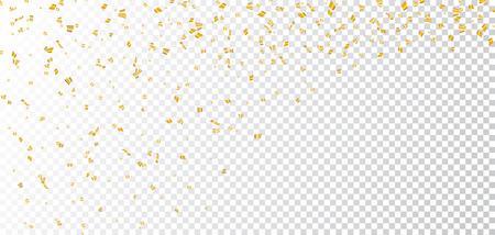 Złoty jasny konfetti na białym przezroczystym tle Bożego Narodzenia. Złoty dekoracji brokat abstrakcyjny wzór karty Happy New Year, pozdrowienia, Xmas wakacje świętować banner. ilustracji wektorowych Ilustracje wektorowe