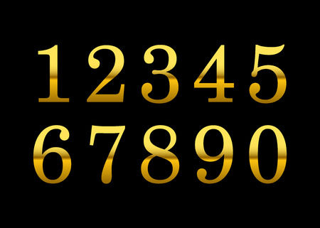 5.0: Gold numbers set. Golden metallic font, isolated on black background. Beautiful typography metal design for decoration. Symbol elegance royal graphic. Modern fashion signs. Vector illustration