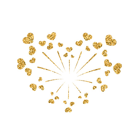 Heart firework gold. Beautiful flat golden firework isolated on white background. Bright decoration design Valentine day, romantic love card, wedding celebration, festival Vector illustration