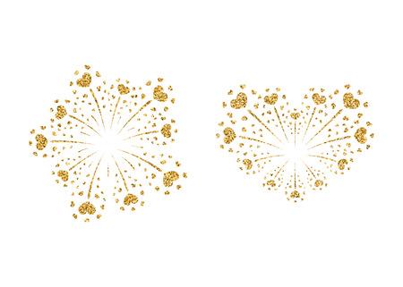 fire crackers: Heart fireworks set gold. Beautiful flat golden firework isolated on white background. Bright decoration design Valentine day, romantic love card, wedding celebration, festival Vector illustration Illustration
