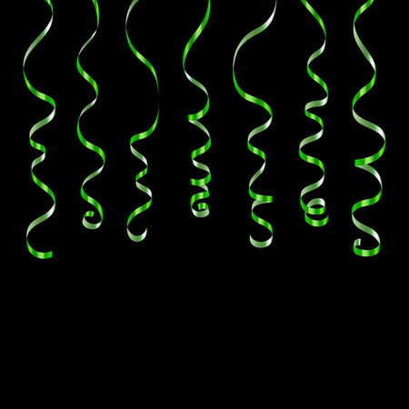 Green curly ribbons. Serpentine on black background. Colorful streamers. Design decoration party, birthday, Christmas, New Year celebration, anniversary, carnival Vector illustration