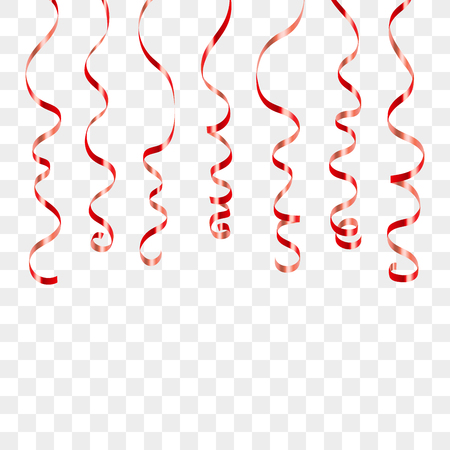 Red curly ribbons. Serpentine on white transparent background. Colorful streamers. Design decoration party, birthday, Christmas, New Year celebration, anniversary, carnival Vector illustration