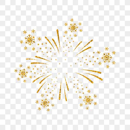Aislado de oro de fuegos artificiales. Hermoso de fuegos artificiales de oro en el fondo transparente. Tarjeta brillante decoración de Navidad, Feliz Año Nuevo celebración, aniversario, festival. Diseño plano ilustración vectorial Foto de archivo - 69739611