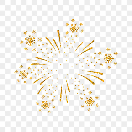 Firework gold isolated. Beautiful golden firework on transparent background. Bright decoration Christmas card, Happy New Year celebration, anniversary, festival. Flat design Vector illustration Stock Illustratie
