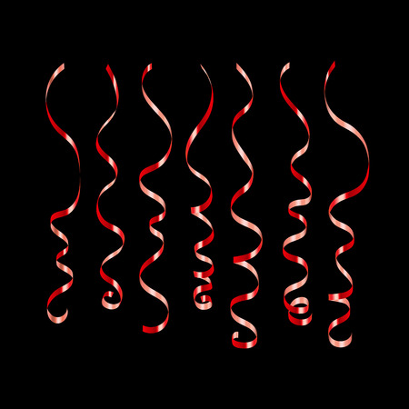 Curly ribbon serpentine confetti. Red streamers set on black background. Colorful design decoration for party, holiday event, carnival, Christmas, New Year greeting. Vector illustration Illustration
