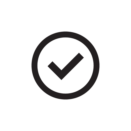Tick sign black element. Gray checkmark icon isolated on white background. Simple mark graphic design. Circle OK button for vote, decision, web. Symbol correct, check, approved Vector illustration
