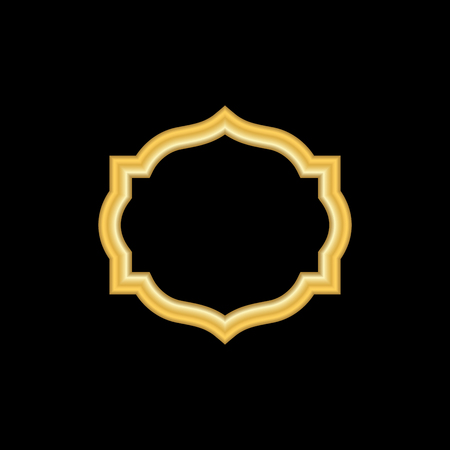 art museum: Gold frame. Beautiful simple golden design. Vintage style decorative border, isolated on black background. Deco elegant object. Empty copy space for decoration, photo, banner. Vector illustration