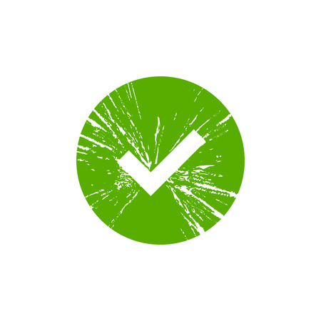 Tick sign element. Green grunge checkmark icon isolated on white background. Simple mark design. Circle shape OK button for vote, decision. Symbol of correct, check, approved Vector illustration Illustration