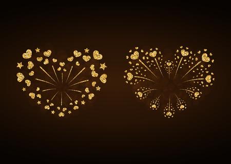 fire crackers: Heart fireworks gold set. Beautiful flat golden firework isolated on black background. Bright decoration design Valentine day, romantic love card, wedding celebration, festival Vector illustration Illustration