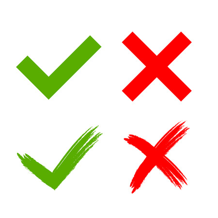 Tick and cross grunge and simple signs. Green checkmark OK and red X icons, isolated on white background. Marks design. symbols YES and NO button for vote, decision, web. Vector illustration