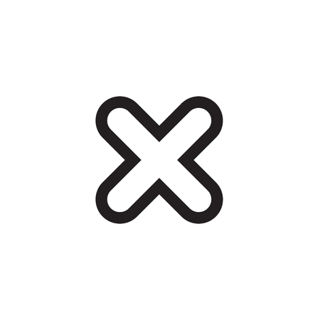 Cross Sign Element Black X Icon Isolated On White Background
