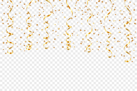 Gold curly ribbon confetti. Golden serpentine transparent background. Colorful streamers. Decoration party, birthday, Christmas, New Year celebration, anniversary, carnival Vector illustration Vettoriali