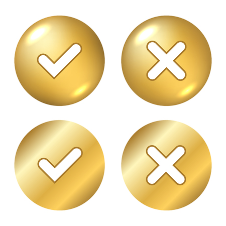 Tick and cross gold metallic sign element. Golden checkmark OK, X icon on white background. Check marks graphic design. YES and NO button for vote, decision, choice, web Vector illustration