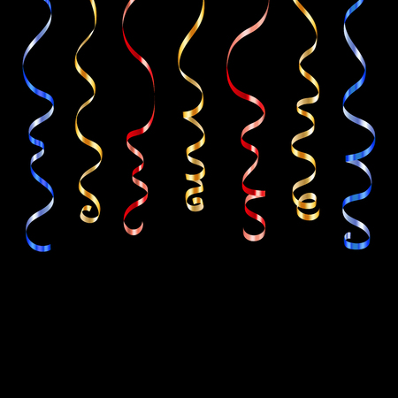 Gold blue red curly ribbons. Golden serpentine on black background. Colorful streamers. Design decoration party, birthday, Christmas, New Year celebration, anniversary, carnival Vector illustration