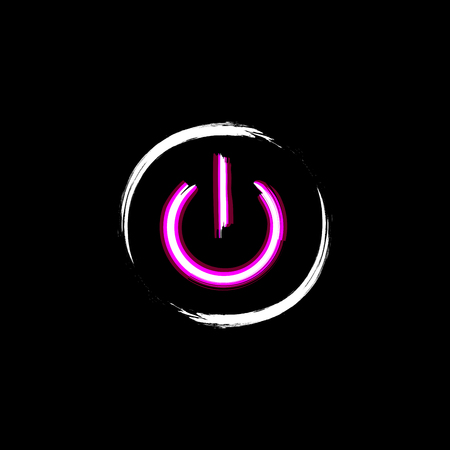 shut off: ON and OFF neon circle button, isolated on black background. Light power sign. Shut down icon. Grunge design. Symbol of technology, computer, energy and web. Vector illustration Illustration