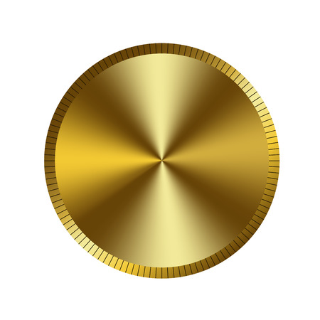 Gold circle background. Golden round medal, isolated on white background. Award bright element. Border design for competition, winner prize, victory button. Royal decoration. Vector illustration