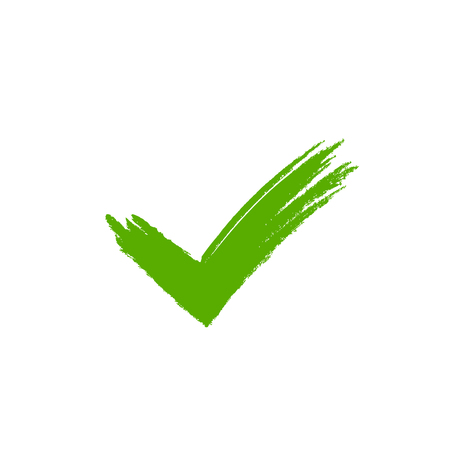 Tick sign element. Green grunge checkmark icon, isolated on white background. Mark graphic design. OK button for vote, decision, web. Symbol of correct, check, approved. Vector illustration