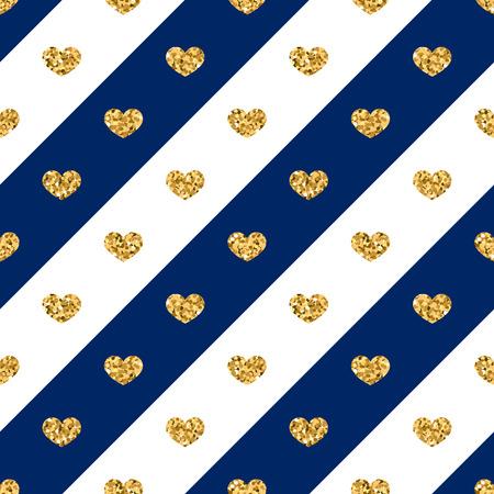 sequin: Gold heart seamless pattern. Golden glitter love confetti hearts on white blue line background. Diagonal stripe. Design Valentine day, wedding wallpaper. Modern holiday texture Vector illustration Illustration