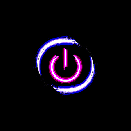 On And Off Neon Circle Button Isolated On Black Background