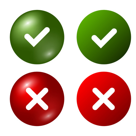 Tick and cross signs. Green checkmark OK and red X icons, isolated on white background. Marks graphic design. Circle symbols YES and NO button for vote, decision, web.
