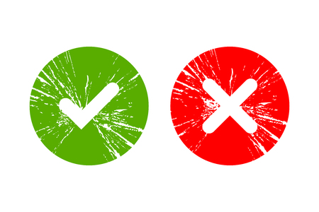 Tick and cross grunge signs. Green checkmark OK and red X icons, isolated on white background. Simple marks graphic design. Symbols YES and NO button for vote, decision, web.