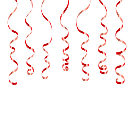 party streamers: Red curly ribbons. Serpentine on white background. Colorful streamers. Design decoration party, birthday, Christmas, New Year celebration, anniversary, carnival Vector illustration