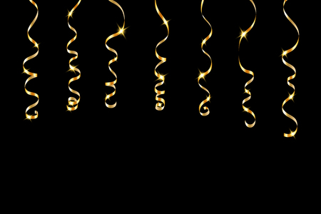 party streamers: Gold curly ribbons. Golden serpentine on black background. Colorful streamers. Design decoration party, birthday, Christmas, New Year celebration, anniversary, carnival Vector illustration