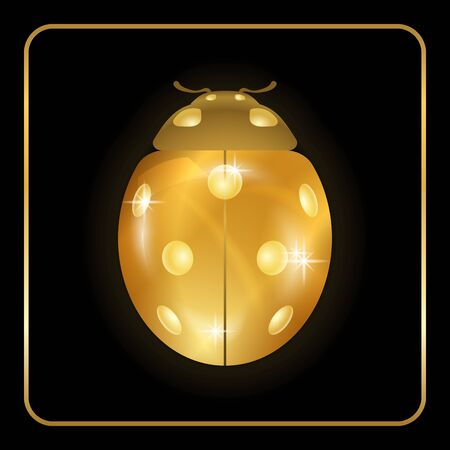 Ladybug gold insect small icon. Golden lady bug animal sign, isolated on black background. 3d volume design. Cute jewelry ladybird design. Cartoon lady bird closeup beetle. Vector illustration Illustration
