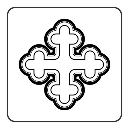 irish easter: Cross icon. Traditional religion ornate symbol. Black silhouette sign isolated on White background. Monochrome design element. Religion concept for different projects. Stock illustration Stock Photo