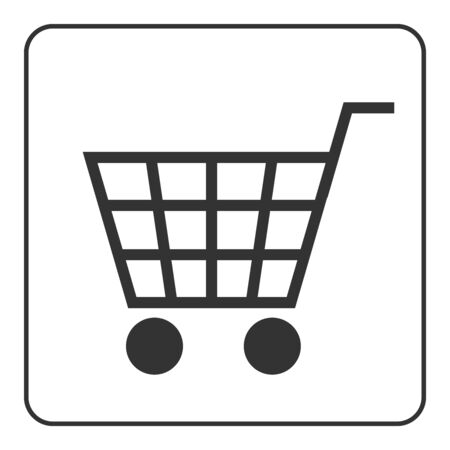 allowing: Shopping Cart Sign. Gray icon, isolated on white background. Allowing signal. Trolley allowed button. Symbol of buy, retail, sale, store and business. Flat design element. Stock illustration.