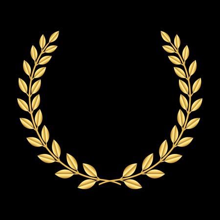laurel leaf: Gold laurel wreath. Symbol of victory and achievement. Design element for decoration of medal, award, coat of arms or anniversary logo. Golden leaf silhouette on black background. illustration.