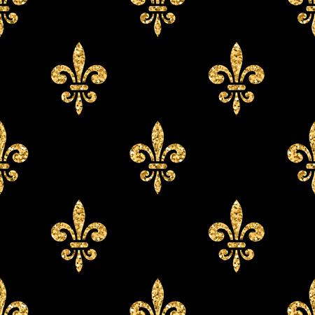 Golden fleur-de-lis seamless pattern. Gold glitter and black template. Floral texture. Glowing fleur de lis royal lily. Design vintage for card, wallpaper, wrapping, textile, etc. Illustration.