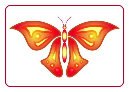 resplandor: Muestra colorida de la belleza de la mariposa. Silueta creativa de neón, aislada sobre fondo blanco. Hermoso icono de color en el marco. Decoración gráfica moderna Elemento de diseño. Alas de luz brillante. Ilustración