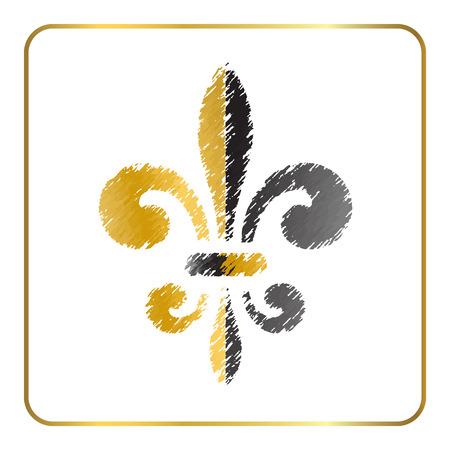 Golden fleur-de-lis heraldic emblem. Gold and gray grunge sign isolated on white background. Design lily insignia element. French fleur de lis royal lily. Elegant decoration symbol Illustration