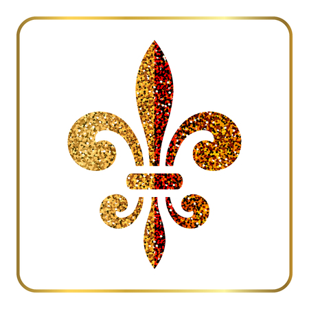 Golden fleur-de-lis heraldic emblem. Gold glitter sign isolated on white background. Design lily insignia element. Glowing french fleur de lis royal lily. Elegant decoration symbol Illustration