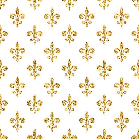 golden fleur de lis seamless pattern gold glitter and white stock