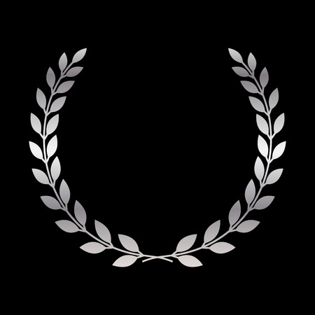Silver laurel wreath icon. Symbol award, trophy, victory, winner, prize. Branch olive sign. Design element for decoration medal, coat of arms logo. Leaf silhouette black background illustration