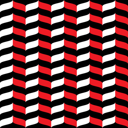Wavy zig zag seamless pattern. White, red and black background. Abstract geometric waves texture. 3d effect. Design template graphic for wallpaper, wrapping, fabric, textile, etc. Illustration.