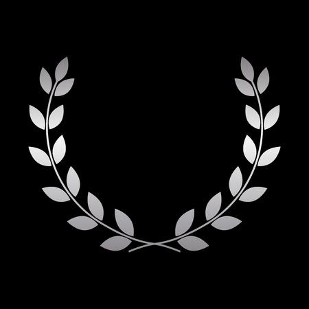 laurel leaf: Silver laurel wreath icon. Symbol award, trophy, victory, winner, prize. Branch olive sign. Design element for decoration medal, coat of arms logo. Leaf silhouette black background illustration