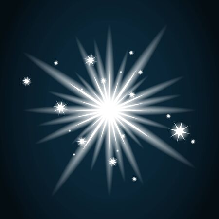 Shine star with glitter and sparkle icon. Effect twinkle, glare, glowing, graphic light sign. Transparent glow design element on dark background. Template bright flash decoration. illustration.
