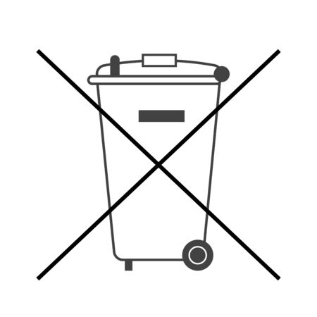 No trash bin icon. Crossed litter. Container recycle. Symbol of garbage, rubbish, dump. Prohibited element label public information. Black warning sign isolated on white background illustration