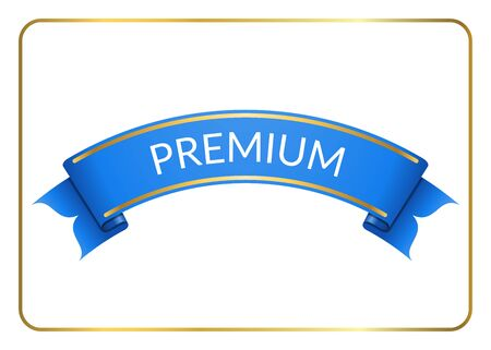 curle: Blue ribbon banner. Sign blank for promotion, web, advertising text etc. Retro design decoration element. Flag stripe template. Symbol vintage label, isolated on white background. illustration.