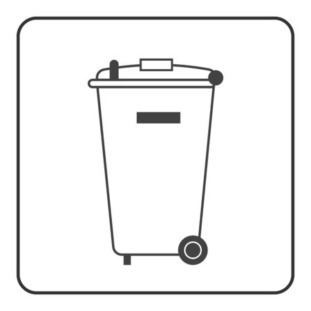 wheelie: Trash bin icon. Basket wheelie litter. Container waste recycle. Symbol of garbage, rubbish, dump. Element label public information. Black warning sign isolated on white background. illustration