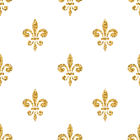 golden fleur de lis seamless pattern gold glitter and white stock