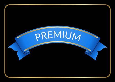 curle: Blue ribbon banner. Sign blank for promotion, web, advertising text etc. Retro design decoration element. Flag stripe template. Symbol vintage label, isolated on black background. illustration.