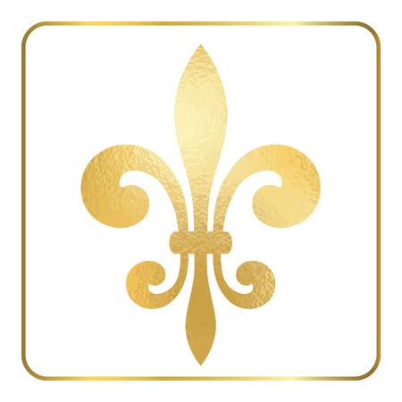 Golden fleur-de-lis heraldic emblem. Gold foil sign, isolated on white background. Design lily insignia element. Glowing french fleur de lis royal lily. Elegant decoration symbol. Illustration.