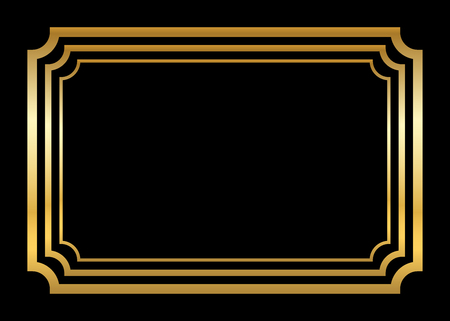 art museum: Gold frame. Beautiful simple golden design. Vintage style decorative border, isolated on black background. Deco elegant art object. Empty copy space for decoration, photo, banner. illustration.