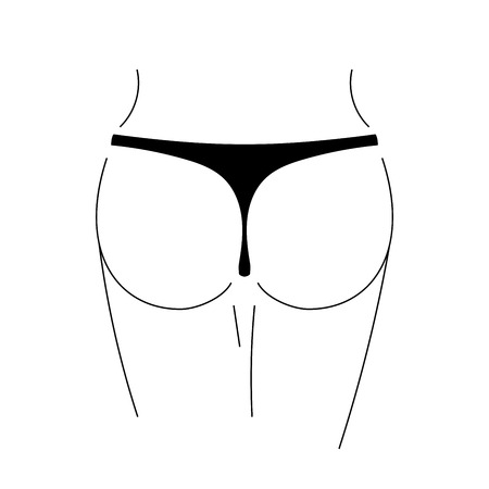 Sexy butt silhouette isolated on white background. Woman erotic ass. Fashion model body. Symbol sexual young girl, seductive female. Buttocks, legs, feminine panties. Simple sketch illustration
