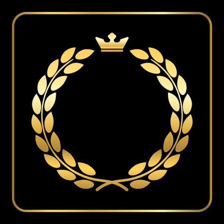 laurel leaf: Gold laurel wreath, with crown. Golden leaf emblem. Vintage design, isolated on black background. Decoration for insignia, banner award. Symbol of triumph, sport victory, trophy. illustration. Stock Photo